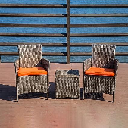 Amazon Com Libison Outdoor Rattan Wicker Chair Set 2pc Chair 1pc