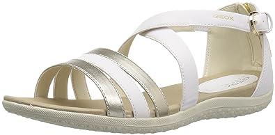 100% authentic arriving various styles Geox Women's Sandal Vega 12 Flat, White/Light Gold, 35 M EU (5 US)