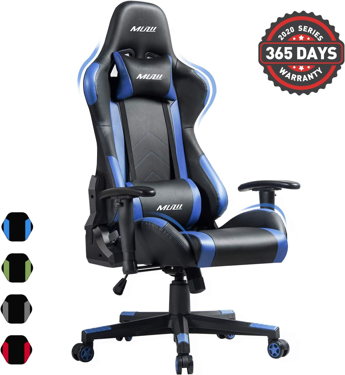 Muzii PC Gaming Chair for Pro,4-Color Choice PU Leather Racing Style Ergonomic Adjustable Computer Chair for Office or Game with Headrest and Lumbar Pillow for Adults and Teens (Blue)