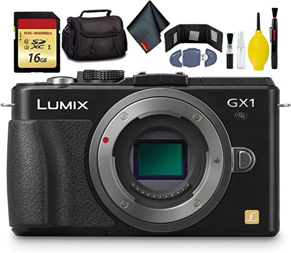 Panasonic LUMIX DMC-GX1 Mirrorless Micro Four Thirds Digital Camera-KitBox-NoLens (Black) - Battery Pack - Battery Charger - 16GB Card - Card Wallet - Reader - Soft CASE + More