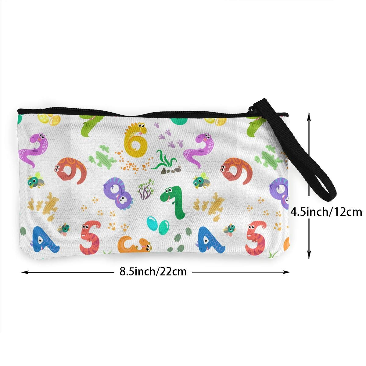 Zipper Small Purse Wallets Cellphone Clutch Purse With Wrist Strap Numbers Like Dinosaurs Pattern Womens Canvas Coin Purse