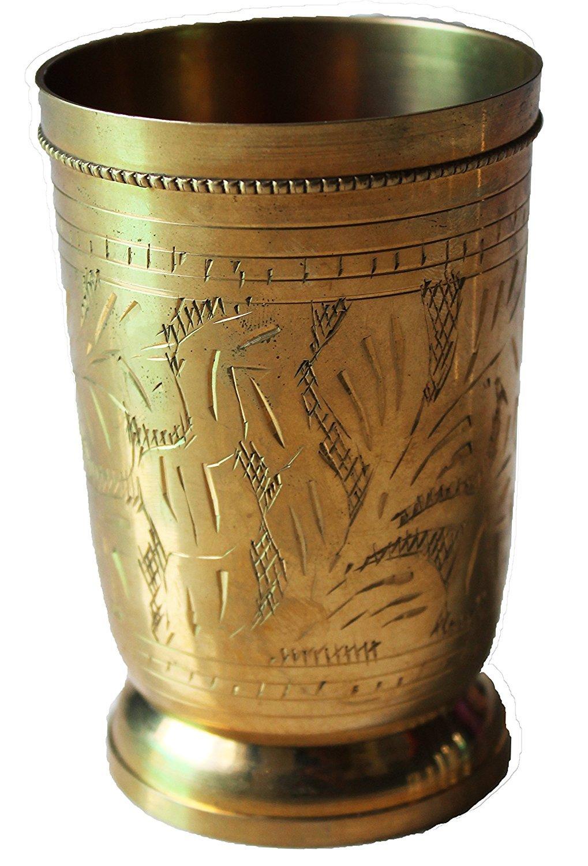 PARIJAT HANDICRAFT Handmade Brass Flower Design Julip Glass Tumbler Cup Serving Drinking Water Decorative Gift Item