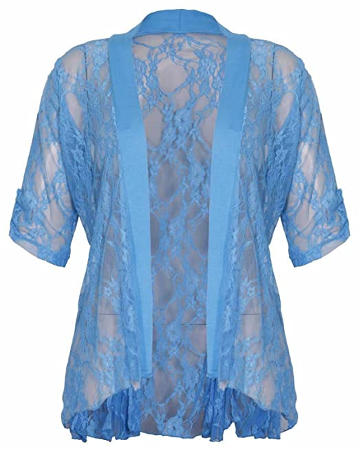 Womens Plus Size Floral Lace 3//4 Turn Up Sleeve Boyfriend Cardigans Tops 14-28