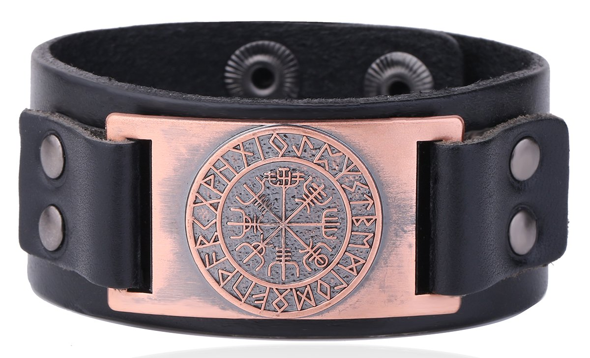 Vintage Nordic Viking Rune Vegvisir Compass Charm Cuff Bracelet for Men/Women Gift Jewelry YiYou