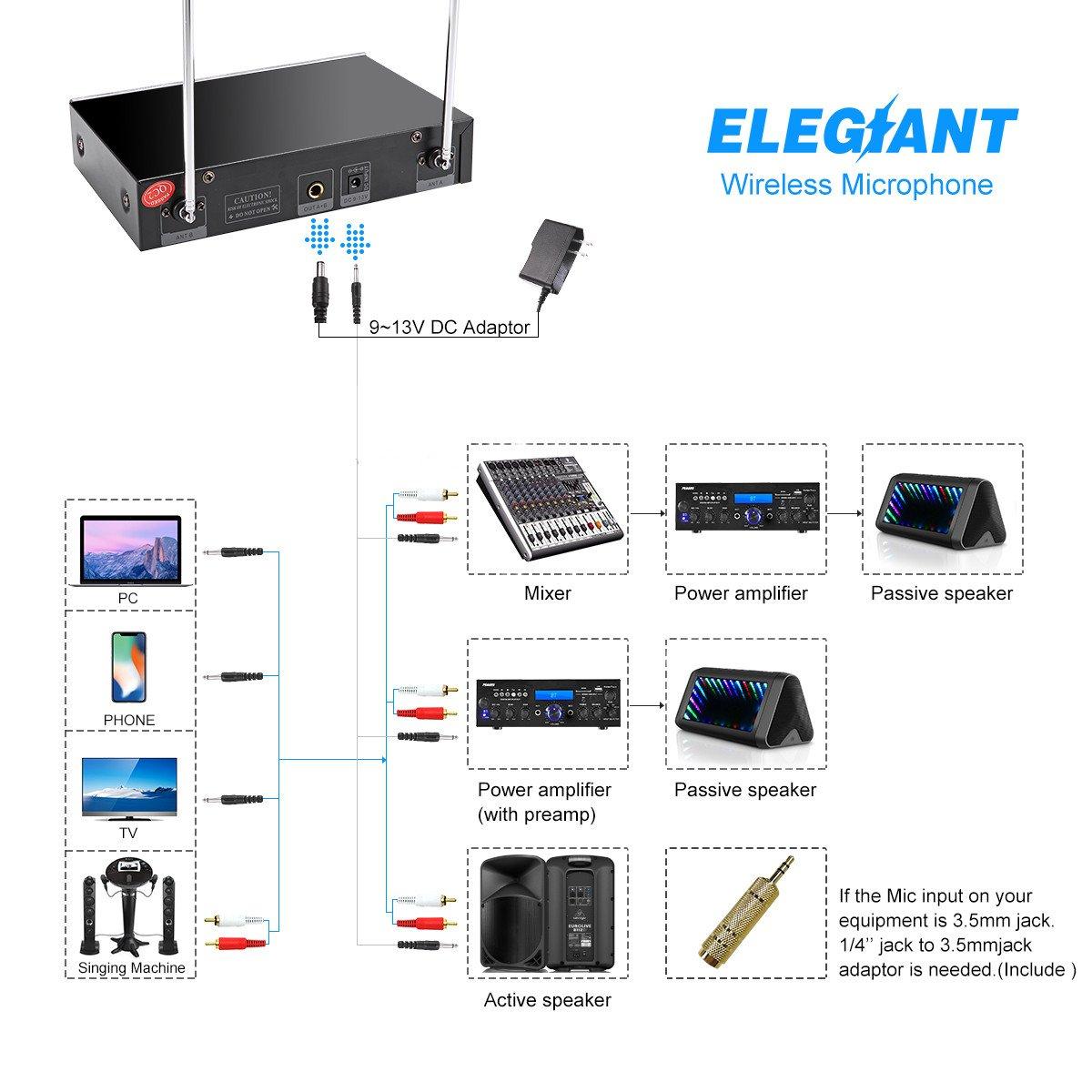 Uhf Wireless Microphone System Elegiant Dual Channel Handheld Hifi Mic Karaoke Speaker Sing A Song Microphones Receiver Metal Professional Singing Machine For Speech
