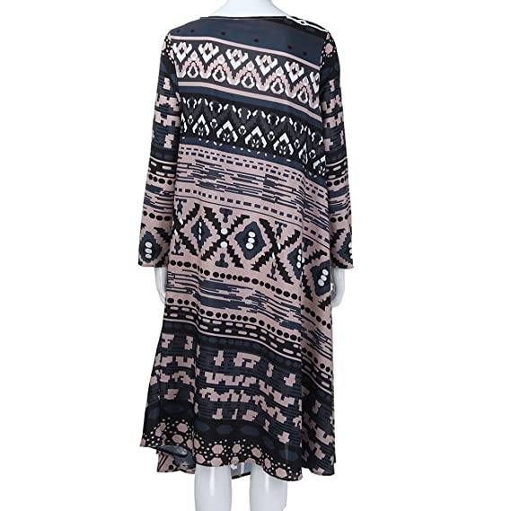 Teresamoon Women Fashion Long Sleeve Print Striped O-Neck Loose Casual Dresses at Amazon Womens Clothing store: