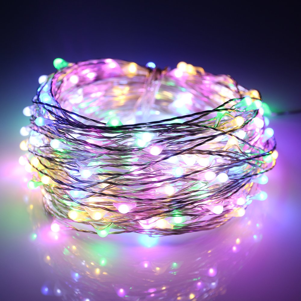 ER CHEN Led String Lights 200 Leds Multicolored Color on Silver wire 66ft LED Starry Light with 12V Power Adapter + Remote Control For Christmas Wedding and Party