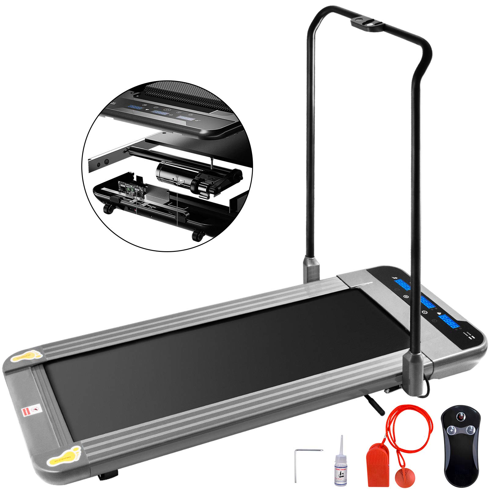 Popsport Smart Treadmill Folding Digital Portable Treadly Treadmill Slim Electric Walking Pad Fitness Training for Home Office (Sliver with Handle)