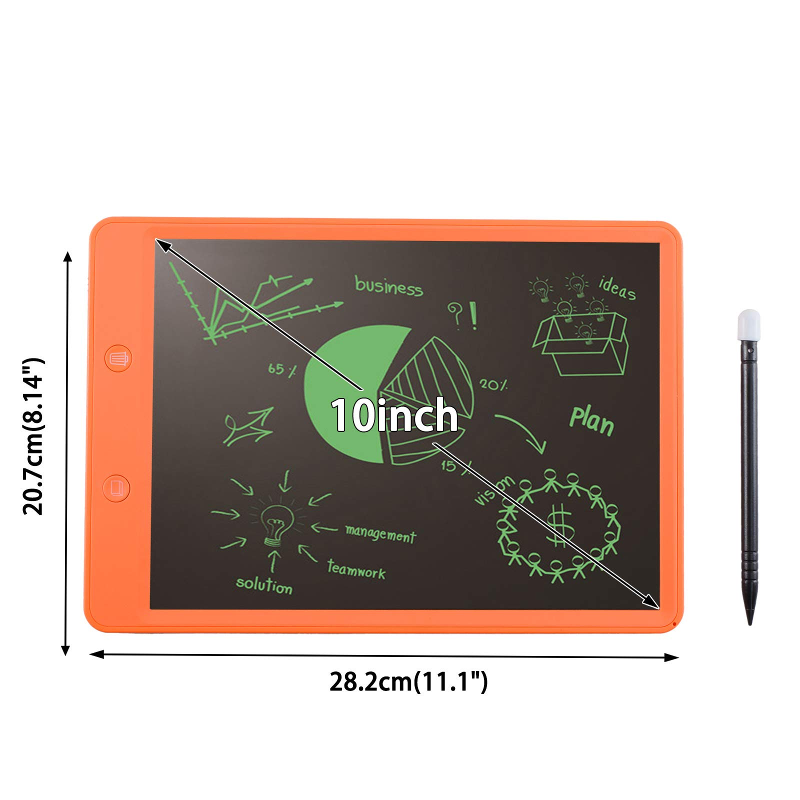 Voilamart Writing Tablet, 10inch LCD Ewriter Digital Writing Board with Memory Lock Partial Delete Function Electronic Graphics Pad for Kids Adults (Orange)