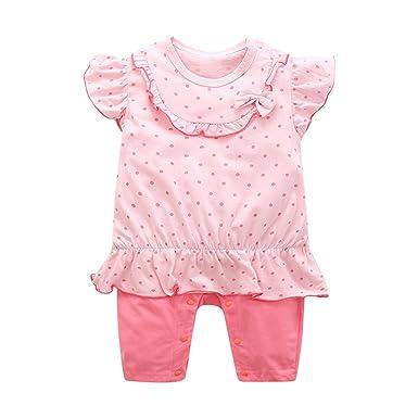 2ea780c3e Amazon.com  Jingjqingcao Cozy New Baby Girl Summer Rompers Short ...