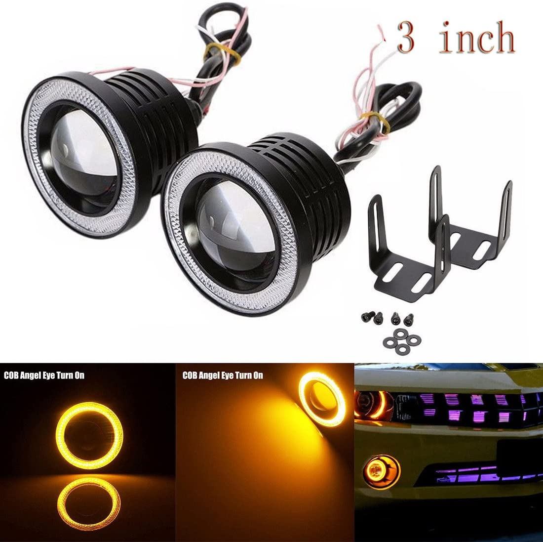 Likethy Car COB LED Fog Light Projector Yellow Halo Ring Angel Eye Driving DRL Bulb 30W 3 inch 76 mm
