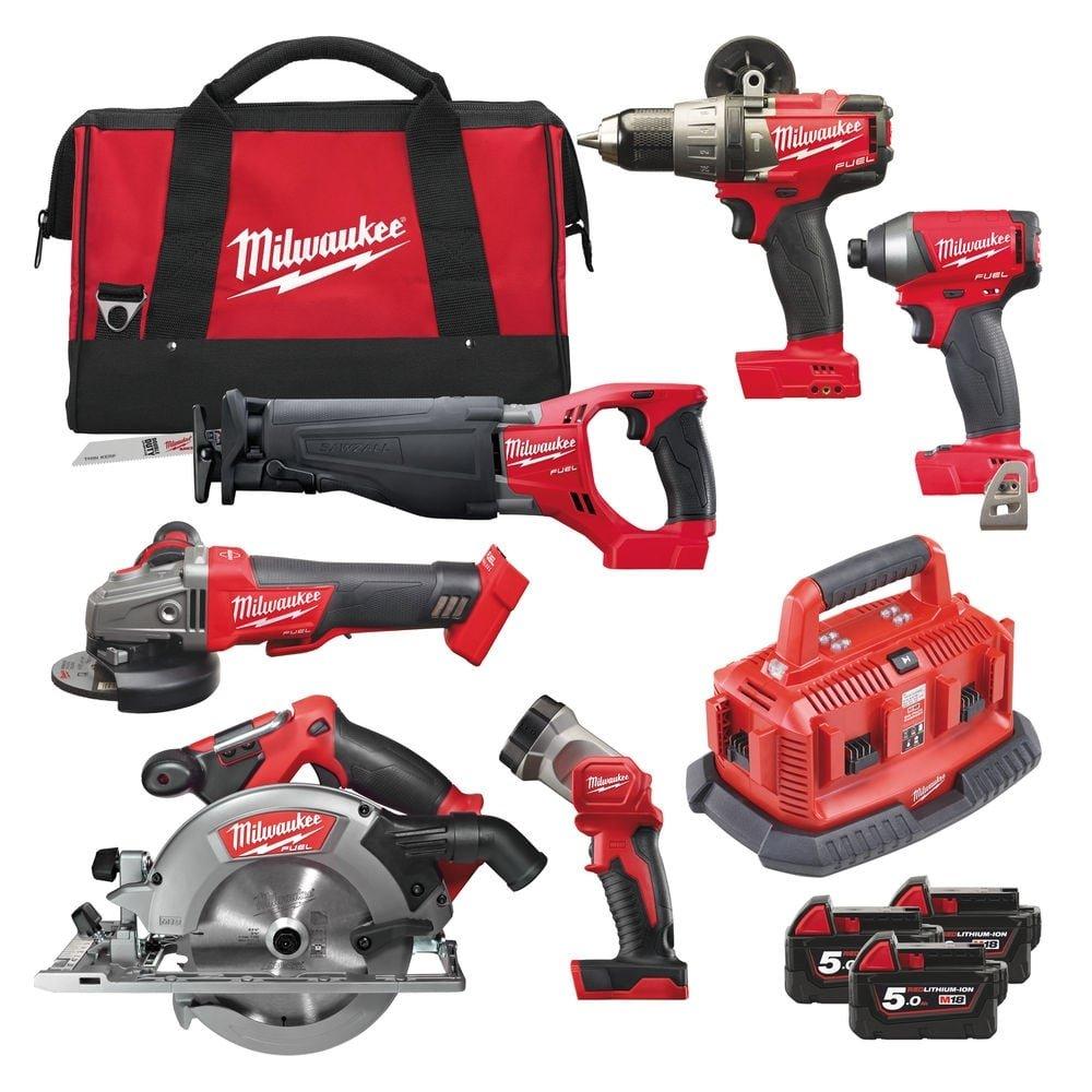 Milwaukee M18FPP6B-503B M18 Fuel 6 Piece Kit (M18FPD, M18FID, M18CSX, M18CCS, M18CAG115XPDB, M18TLED, 3 X 5.0AH Li-Ion Batteries, Multi-Charger, Bag) New