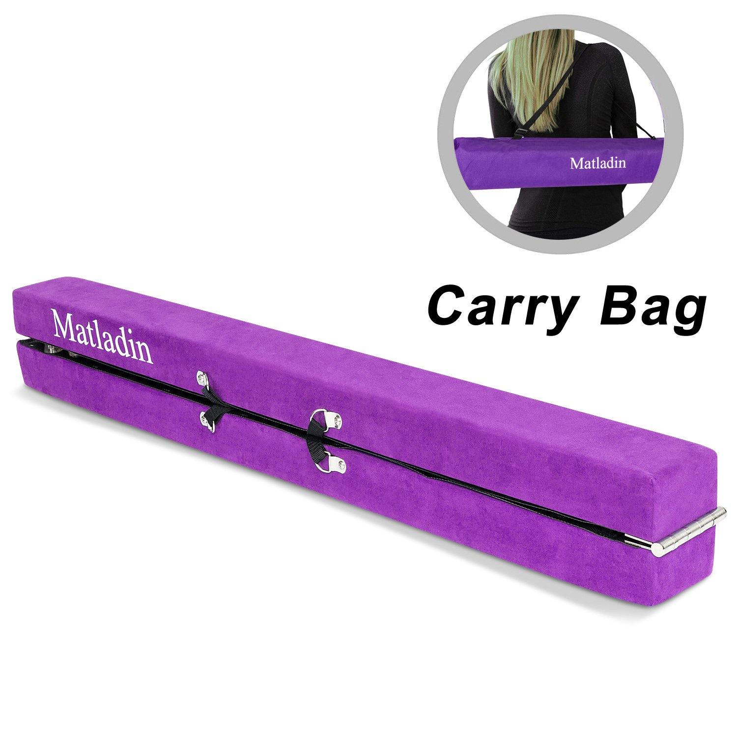Matladin Gymnastics Balance Beam - 7 Ft Folding Wood Core Beam with Carrying Bag, for Toddlers Kids Home Practice Use | Low & Safe on Floor to Build Motor Skills, Develop Confidence & Stability,Purple