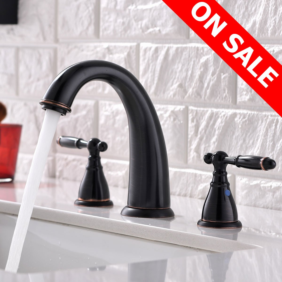 KINGO HOME Antique Durable Two Handles Three Holes Oil Rubbed Bronze Widespread Bathroom Sink Faucet, Bathroom Faucet without Sink Drain Stopper