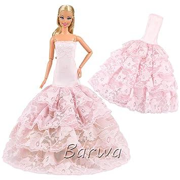 Barwa Grace noche boda fiesta vestidos multicapa de Color rosa ropa vestido para Barbie Doll