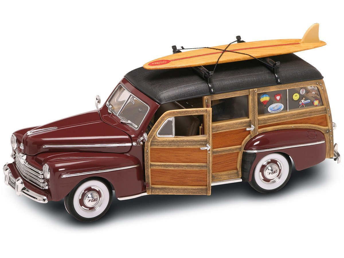 Yat Ming Scale 118 1948 Ford Woody With Real Wood Panel Truck And Surfboard Toys Games
