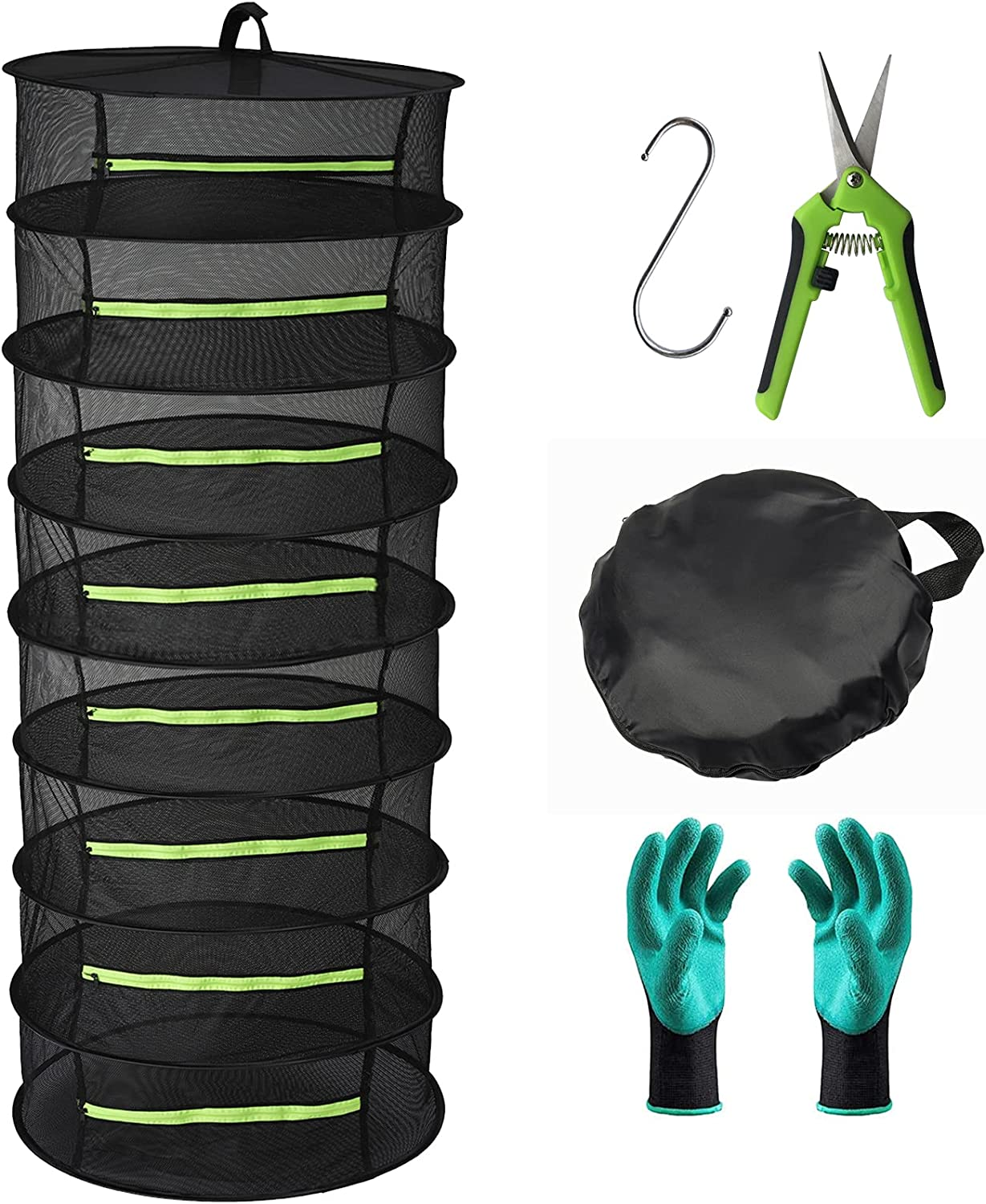 Herb Drying Rack 8 Layer Collapsible Mesh Hanging Drying Net with Zipper, Seropy 2ft Drying Rack with Garden Gloves, Pruning Scissors, Hook, for Drying Seeds, Herb, Bud, Hydroponic Plants