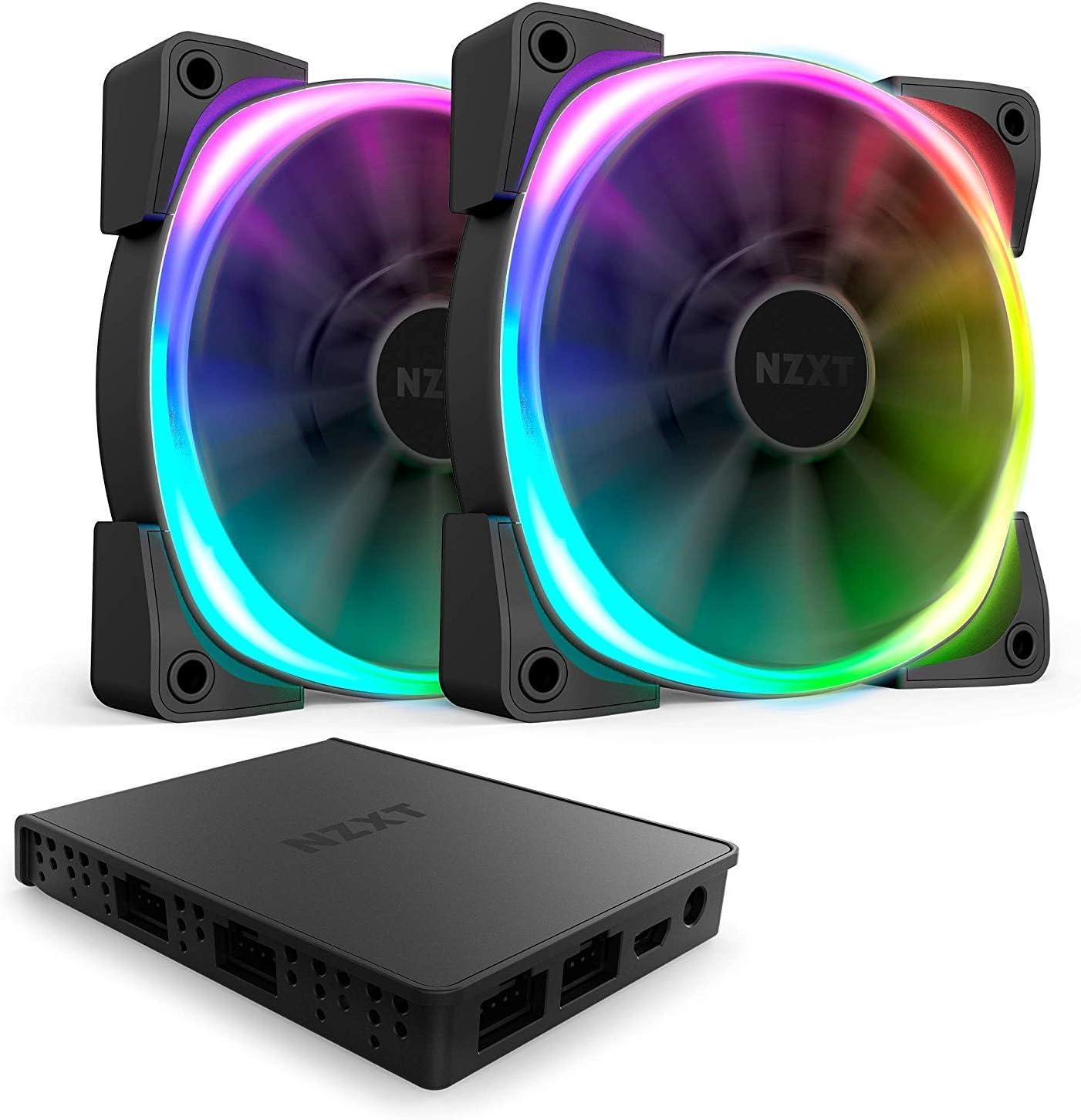 NZXT AER RGB 2 - 120 mm - Personalizaciones de iluminación avanzadas - Puntas Winglet - Ventilador LED RGB PWM para Hue 2 - Paquete doble + Controlador de iluminación Hue 2