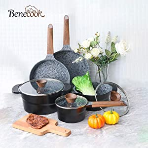 Benecook Ultra Nonstick Cookware Sets - 12 Piece Granite Stone Coating Dishwasher Safe Pots and Pans Set
