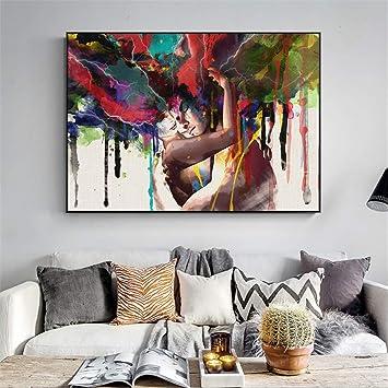 Rjjwai Arte Abstracto En Lienzo Pinturas Murales Pareja De Enamorados Carteles E Impresiones Modernos De La Pared Retrato Impresiones En Lienzo Para La Sala Cuadros Decor Del Dormitorio 40x60cm Amazon Es Bricolaje Y