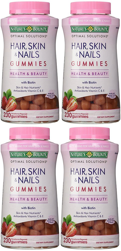 Hair, Skin and Nails, 4 Bottles (230 Count)