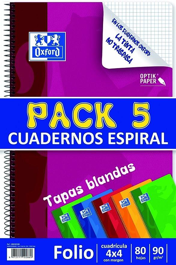 Oxford - Pack 5 de Bloc Papel, Folio cuadrícula, 80 Hojas ...