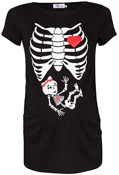 8bd993ae8 De Las Mujeres Maternidad Esqueleto Niña impresión camiseta TOP T Shirt.  504p negro negro 46 48  Amazon.es  Ropa y accesorios