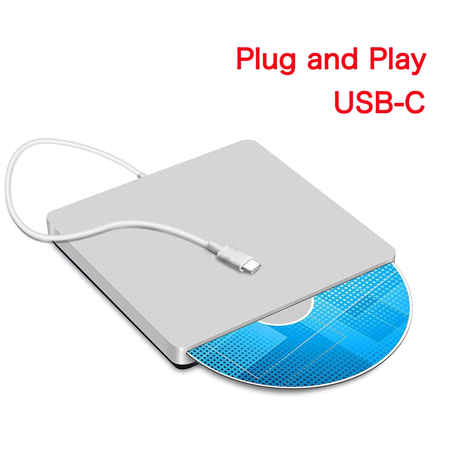 VesTcp Type-C Superdrive External DVD/CD Rewriter Drive USB External DVD/CD Drive Burner for Apple--MacBook Air/Pro/iMac/Mini/MacBook Pro/ASUS /ASUS/DELL Latitude (Silver)