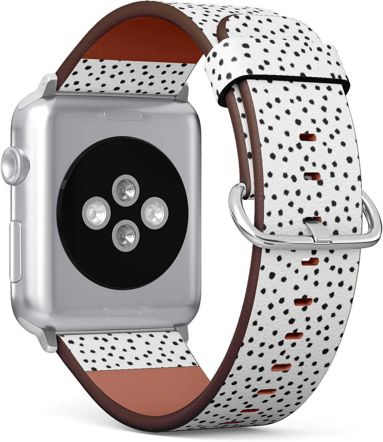 Compatible with Apple Watch 38mm & 40mm (Series 5, 4, 3, 2, 1) Leather Watch Wrist Band Strap Bracelet with Stainless Steel Clasp and Adapters (Polka Dot)