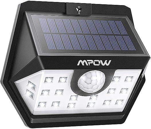 Foco Solar Impermeables IP65 de Exterior para Patio Camino Jard/ín Garaje 3 Modos L/ámpara Solar,Sensor de Movimiento Mpow Luz Solar 3-8M Deteccion 270/° Gran Angular de Iluminaci/ón