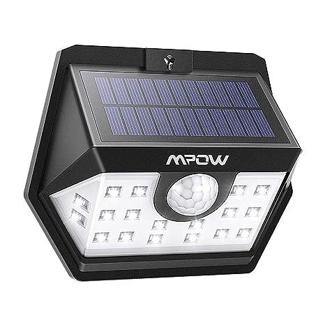 Mpow Luz Solar de Exterior, Lámpara Solar 20 LED, 270º Gran Angular de Iluminación con 120° Sensor de Movimiento Impermeable, Foco Solar de Pared para ...