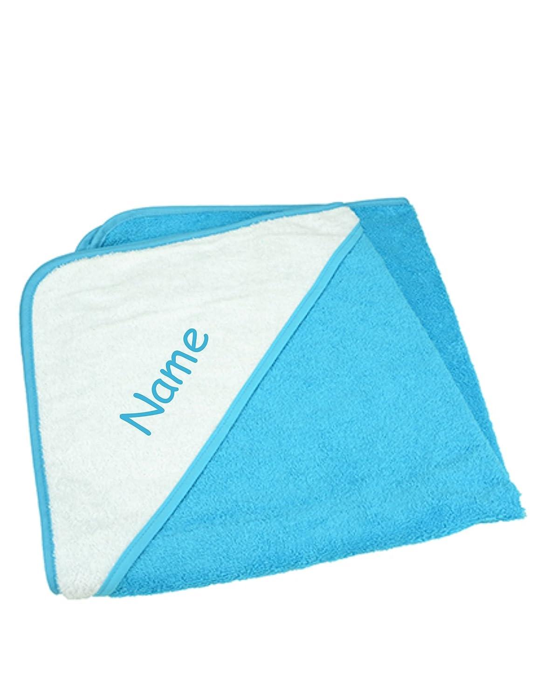 Nashville print factory Baby Kapuzenhandtuch Kapuzentuch Hooded Towel Handtuch mit Kapuze Babybadetuch | Bestickt mit Namen (Aqua/Lime (Blau/Grün))