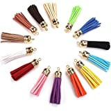 MEIBEADS 20pcs/lot of Multi-Colors Leather Tassel with Caps Cell Phone Straps/DIY Charms£¨gold)