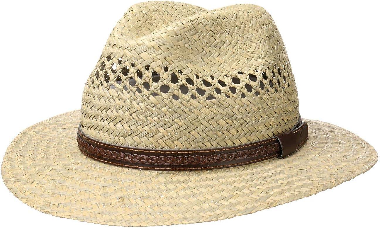 Sommerhut mit Ledergarnitur Sonnenhut Made in Italy Naturfarben Lipodo Steven Traveller Strohhut Damen//Herren Hut aus 100/% Stroh