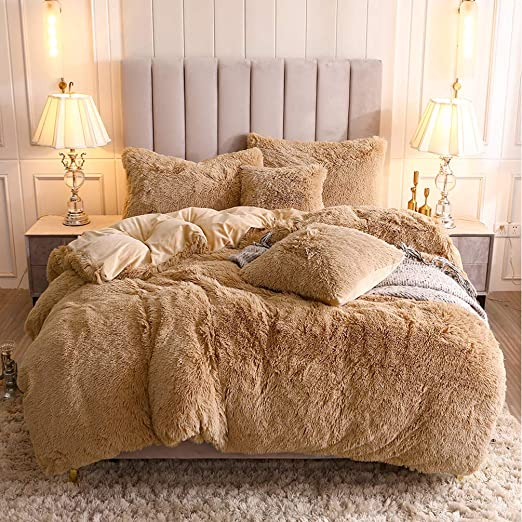 New Printed CHECK STRIPE Teddy Fleece Duvet Cover PC Cosy Warm Soft Bed Set LW