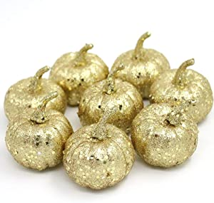 Nice purchase Realistic Fake Artificial Small Pumpkins for Decor Halloween Fall Harvest Thanksgiving Party DIY Craft (Gold Pumpkins)