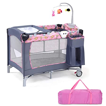 Costzon Baby Playard, 3 in 1 Reversible Napper and Changer, Infant Travel Bassinet Bed with Hanging Toys, Music Box, Large Capacity Basket, Carry Bag Pink