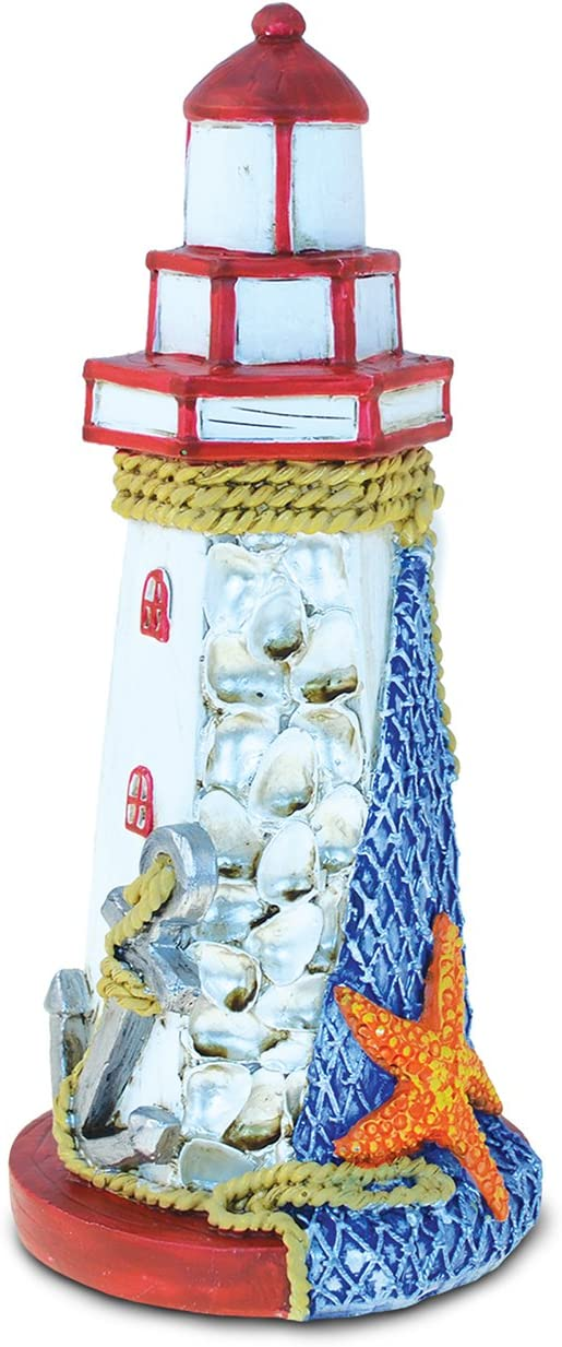 Puzzled Resin Red Lighthouse, 8 Inch Tall Sculptural Figure Intricate & Meticulous Detailing Art Handcrafted Decorative Tabletop Figurine Accent Accessory Coastal Nautical Beach Themed Home Décor