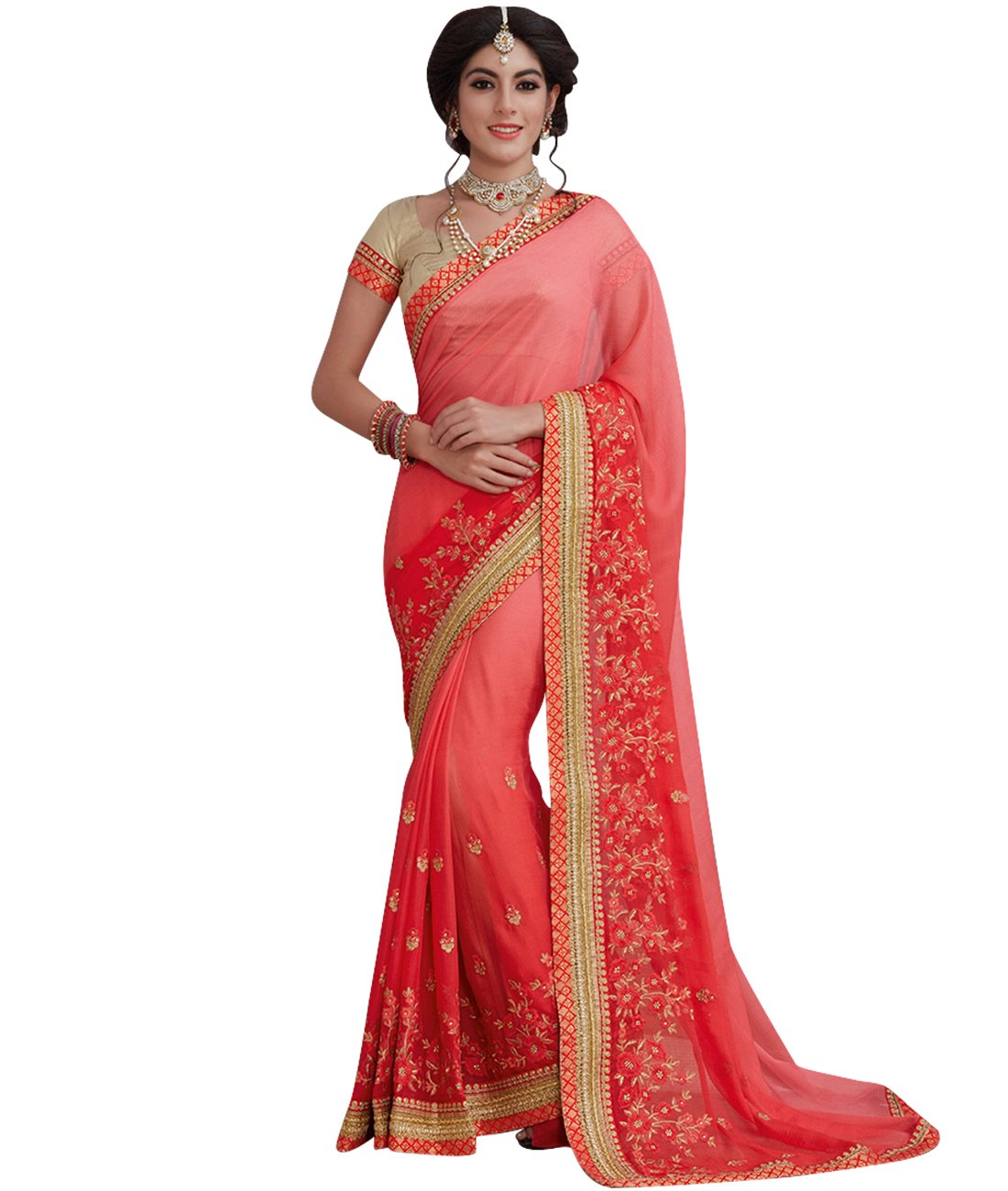 Indian Ethnic Satin Chiffon Ombre Peach & Red Fancy Saree