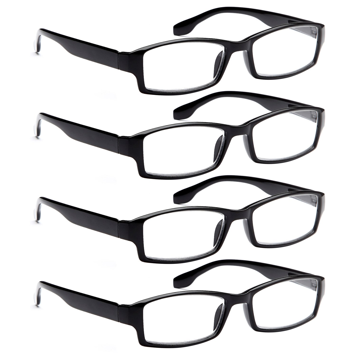 ALTEC VISION 4 Pack Spring Hinge Black Frame Readers Reading Glasses for Men and Women - 1.75x