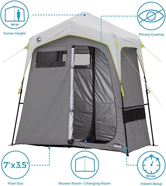 Shower Tent with 8 rings 180x180 Green