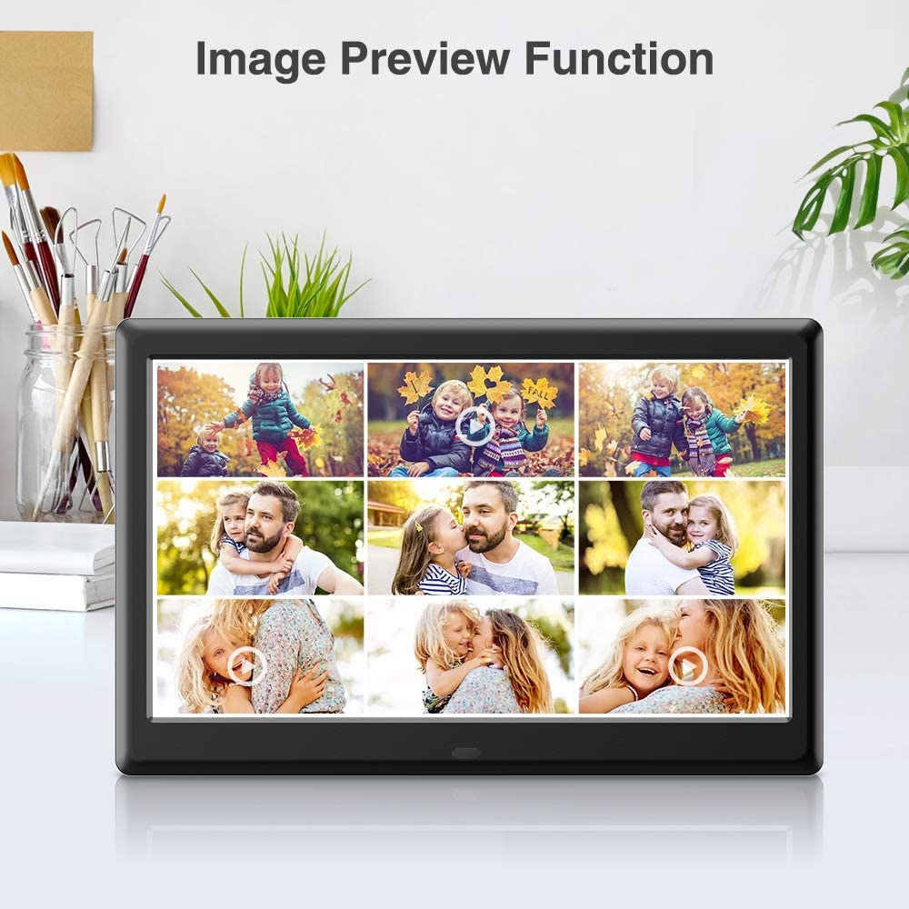 Auto-Rotate Advanced Electronic Photo /& Video Frame with 1280x800 IPS HD Display Slideshow Time Remote Control Supports 1080P DBPOWER 10 Inch Digital Picture Frame Calendar View /& USB//SD Slot