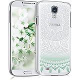 kwmobile Cover per Samsung Galaxy S4 - Custodia Rigida Trasparente per Cellulare - Back Case Cristallo in plastica Menta/Bianco/Trasparente