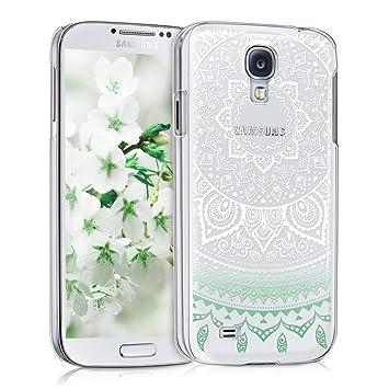 kwmobile Funda para Samsung Galaxy S4 - Carcasa de [plástico] para móvil - Protector [Trasero] en [Menta/Blanco/Transparente]