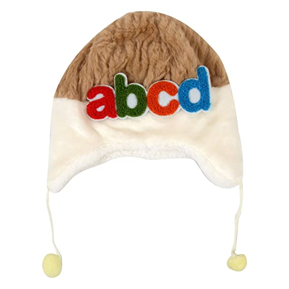 c346fcba8a5 Baby Grow Baby Kids Hat Autumn Winter Warm Fleece ABCD Cap for 6 to 12  Months (Brown)  Amazon.in  Clothing   Accessories