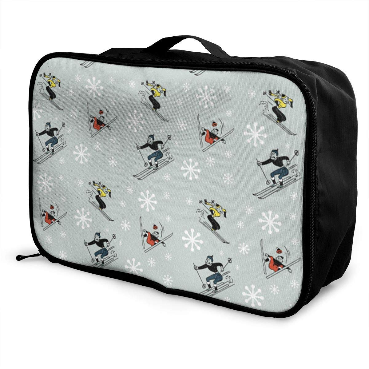 Portable Luggage Duffel Bag Retro Skiing Travel Bags Carry-on In Trolley Handle
