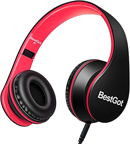 BestGot Headphones for Kids Boys Over Ear Kids Headphones with Microphone in-line Volume with Cloth Bag Foldable Headphones with 3.5mm Plug Removable Cord Black Red