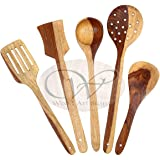 Wood art store Handmade Wooden Serving and Cooking Spoon Kitchen Utensil Set of 5