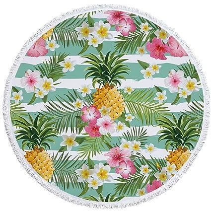 PYHQ Piña Floral Círculo Toalla de playa Tapa de algodón de borla Wall colgar tapices Manta