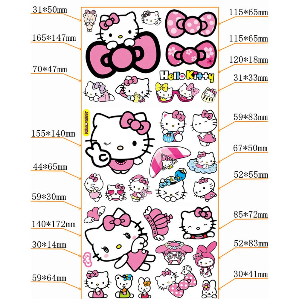 Kawaii Car Stickers Cartoon Hello Kitty Cat Car Decals And Stickers Strong Self-adhesive Anime Stickers For Cars Scratch PVC Waterproof Stickers Not Fade 3d Anime Suitcase Stickers Helmet Decals